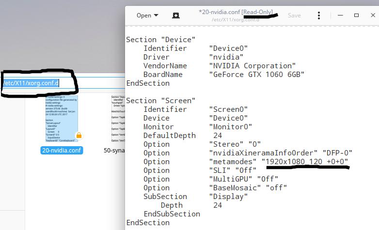 Nvidia X Server Settings сбрасывается после перезагрузки